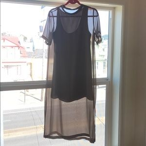 Sheer shirt dress with silk slip